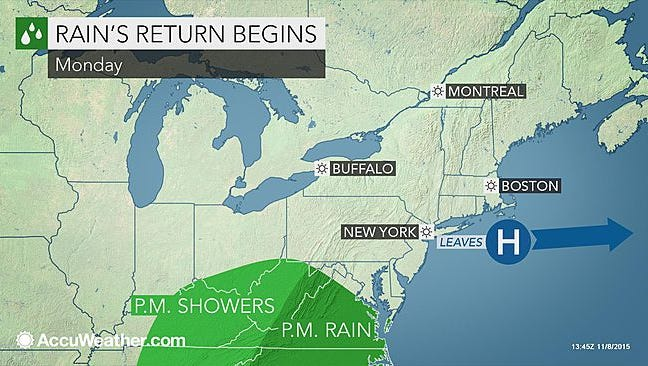 Rain is expected to return to the southcentral Pennsylvania region this week.