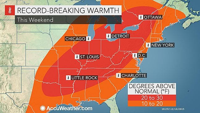 There may be clouds and a shower or two in York County on Saturday, but temperatures could reach 65 degrees, a record-challenging high for the area.