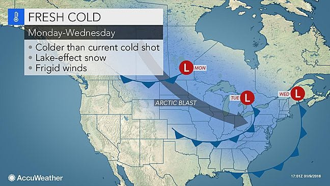 Cold air will hit the region starting Monday.