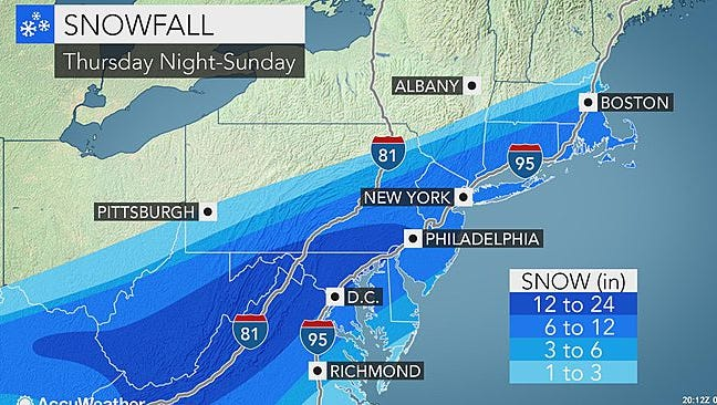 Heavy snow is expected for the region on Saturday.
