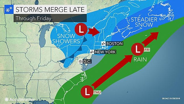 A bigger storm system that could have brought snow to the Northeast will move out to sea, while a clipper system could bring light snow Friday.