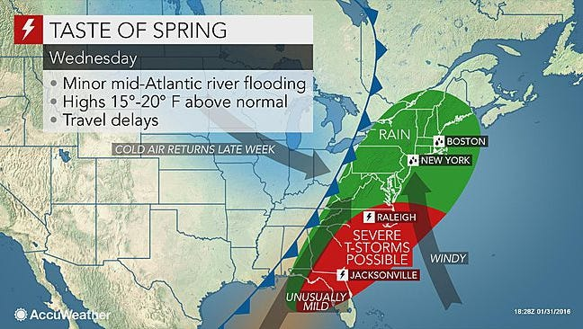 We'll see a taste of spring this week with wet conditions and warmer temperatures.