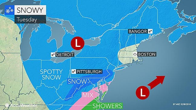 Snow is expected to hit the Lower Hudson Valley on Tuesday, Feb. 9, 2016.