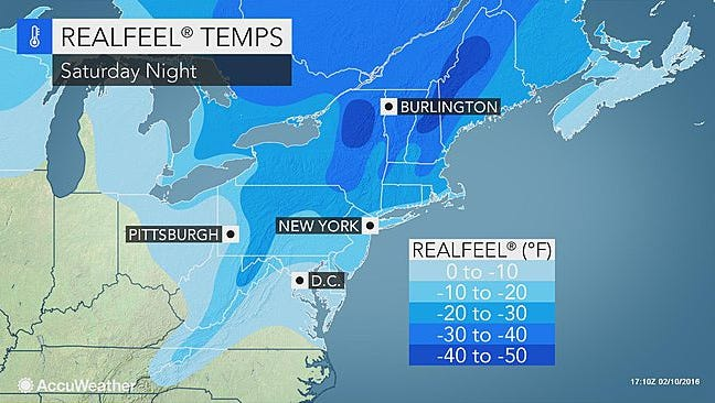 Here's what it might feel like Saturday night with wind chill taken into account.