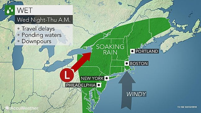 A storm bringing ice and rain will approach the Mid-Atlantic and Northeast this week.