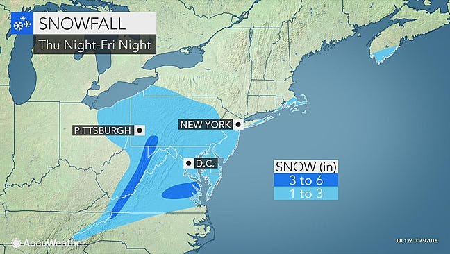 Snow will fall in York County Thursday night into Friday