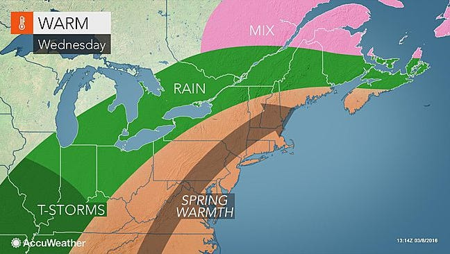 Spring-like warmth will be welcomed into the mid-Atlantic and Northeast regions this week.