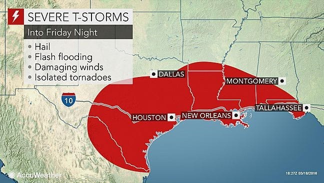 This AccuWeather graphic shows the risk of severe thunderstorms in Louisiana beginning Friday, March 18, 2016.