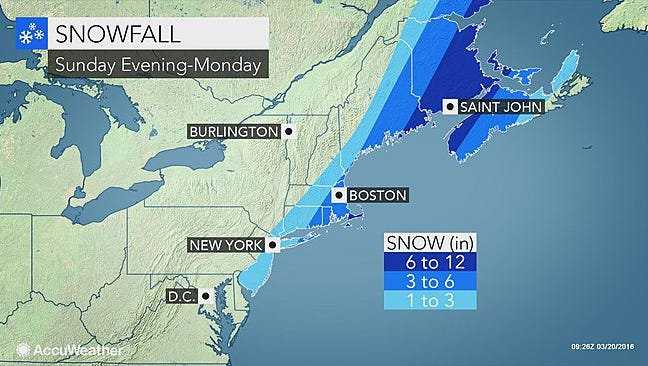 York County will narrowly dodge a snow system that's predicted to hit the northeast U.S. states on Sunday.