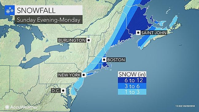 In this Accuweather map, the Sunday-Monday forecast shows a snow system on the East Coast.