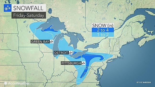 A new cold plunge will bring intermittent snow and rain.