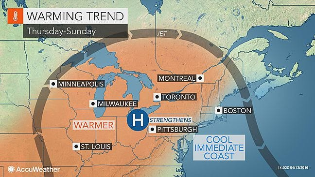 A warming trend will approach the region this week.