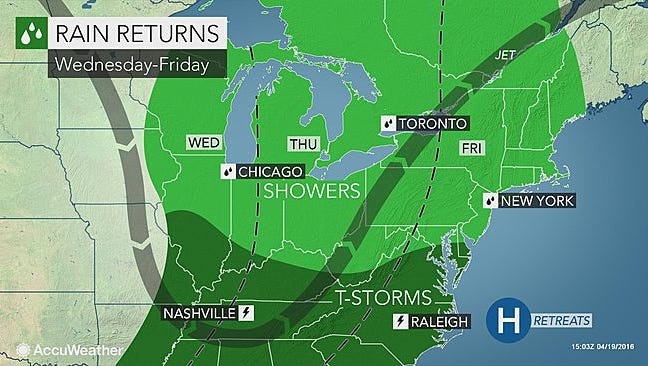 Late-week rainfall will mark end of an extended dry spell, according to Accuweather.