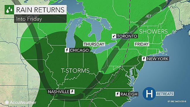Late-week rainfall will mark the end of an extended dry spell, according to Accuweather