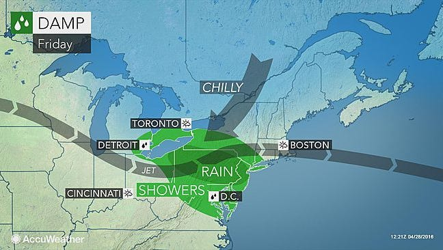 Cool, damp weather remains Friday.
