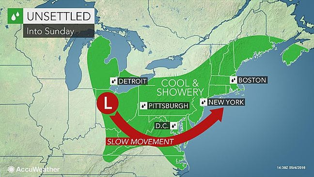 The Lower Hudson Valley may see sunshine on Mother's Day for the first time in almost a week, according to Accuweather.com