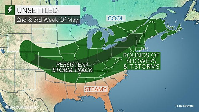 More rain and storms will come throughout the second and third weeks of May.
