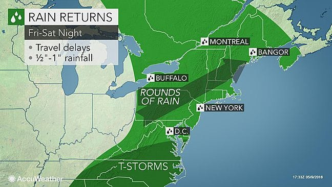 We'll have a little preview of more rain today and see the main act on Friday and Saturday.