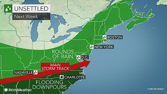 Rain is expected to hit the Mid-Atlantic region through June.