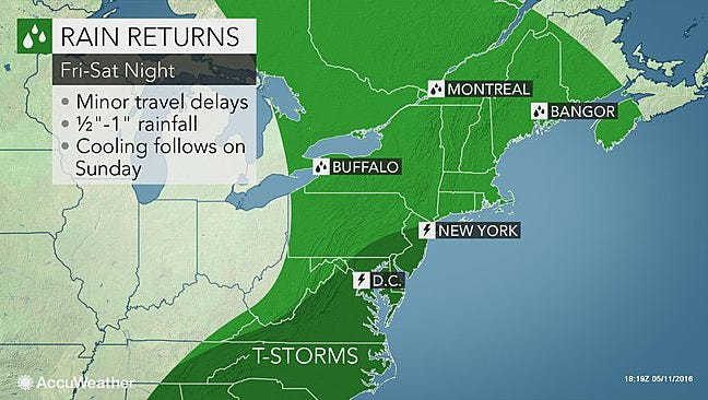 Intermittent rain is expected in the Lower Hudson Valley this weekend.
