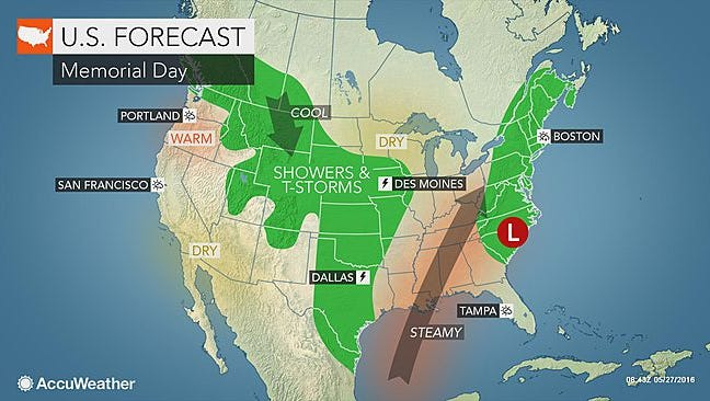 Memorial Day could be steamy and rainy in the Lower Hudson Valley.