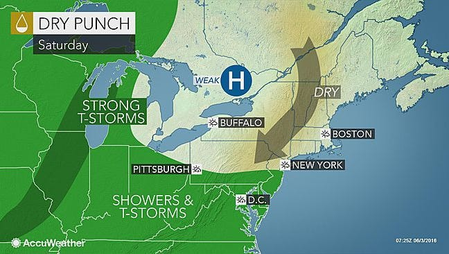 Most of the northeast should be dry during the day Saturday, but some rain could hit York County and other areas in southern Pennsylvania.
