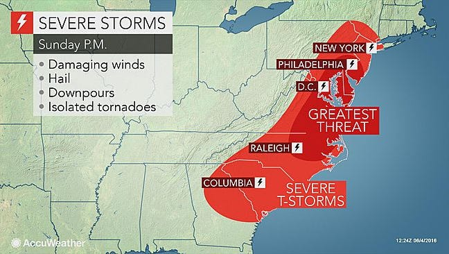 AccuWeather is predicting rain for Saturday and Sunday in York County.