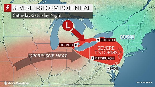 Expect hot weather and thunderstorms in York County on Saturday.