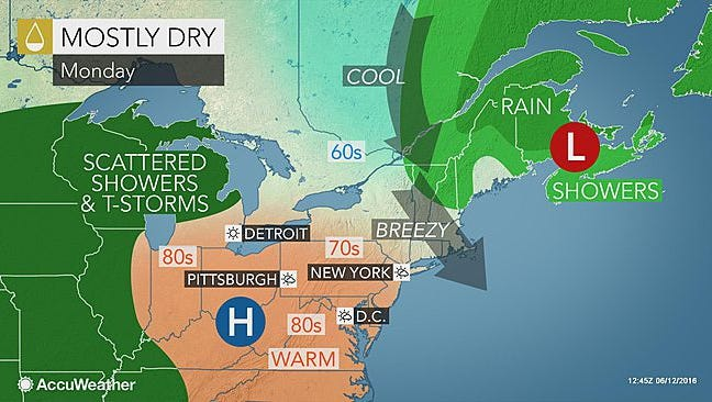 Comfortable conditions will return this week to the Mid-Atlantic.