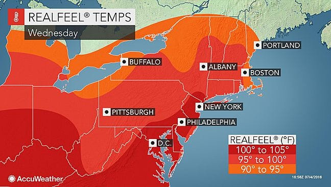 Heavy heat is expected to hit the Mid-Atlantic region today.