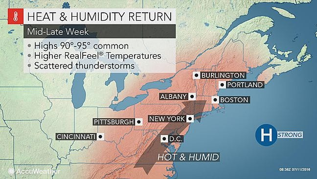 A partly sunny and humid day is expected today in southcentral Pennsylvania.