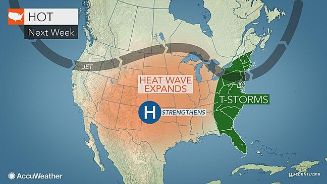 While the center of the country experiences some intense heat, we'll have rain for two days.