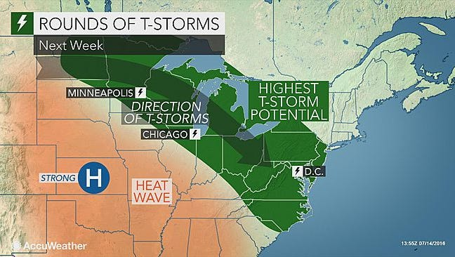 A look ahead at expected thunderstorm potential starting late this weekend and into next week, as seen in an AccuWeather.com map, July 15, 2016