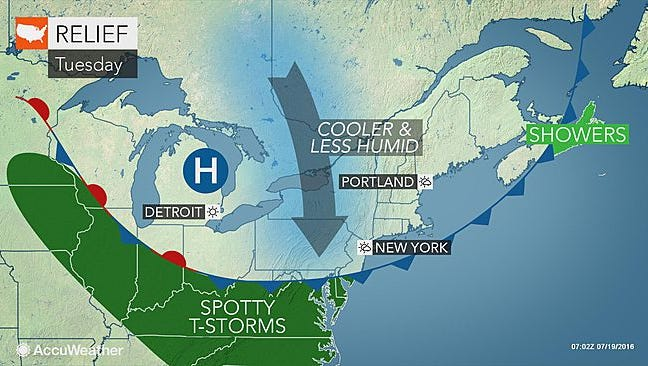 York County will catch a break from the intense humidity today and avoid a storm system to our south.