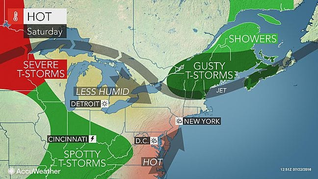 An image from Accuweather shows the weather pattern across the Northeast on Saturday.