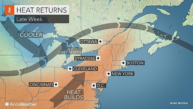 This Accuweather map shows heat building in the region later this week.