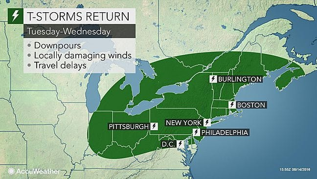 Sweltering heat and thunderstorms are expected again this week in the Lower Hudson Valley.