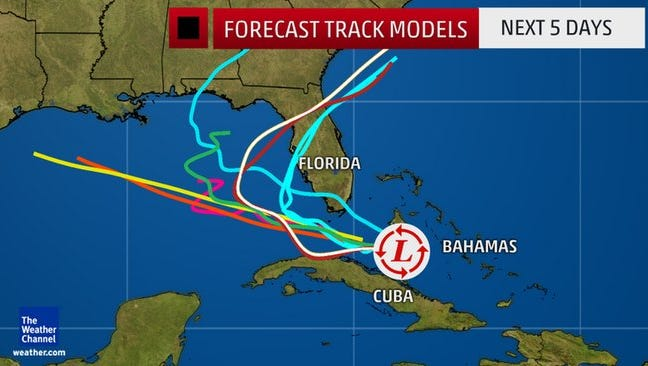 Invest 99L continues moving toward the Gulf of Mexico, but as of 3 p.m. Saturday, was not classified as a tropical depression.