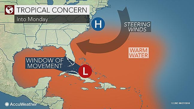 A tropical wave is moving into the Florida Straits into Monday.