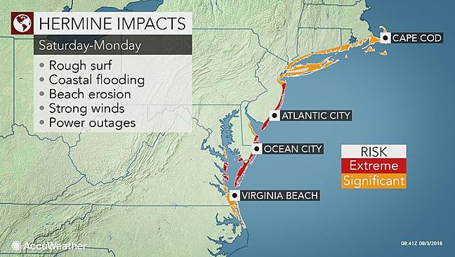 Hurricane Hermine is expected to stall off the coast just south of Long Island.