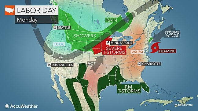 It'll be sunny for Labor Day. The heat returns later in the week.