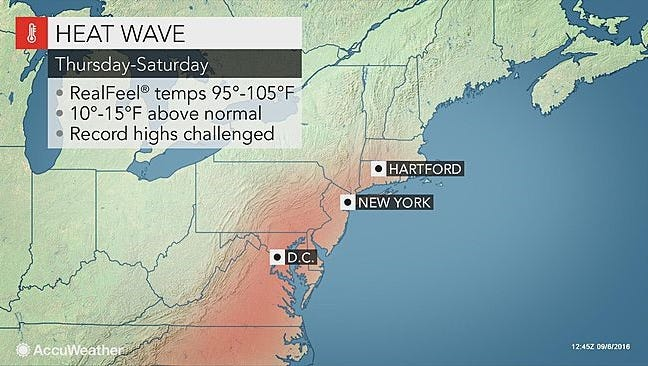 Temperatures in the lower Hudson Valley could reach 90 later this week.