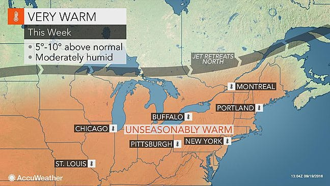 Autumn arrives on Thursday, Sept. 22, 2016, but temperatures are expected to be above average all week in the Lower Hudson Valley.