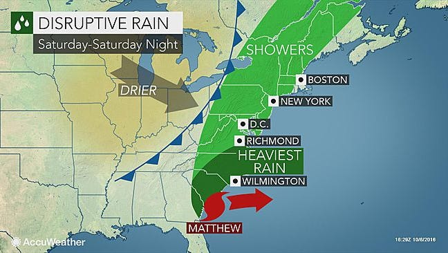 Saturday is expected to be rainy in the Lower Hudson Valley.