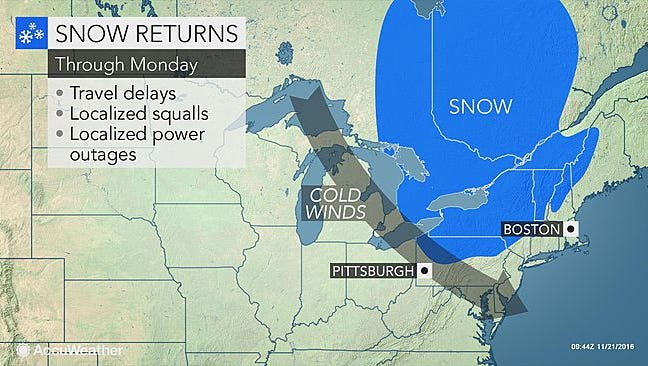 Cold, windy conditions are expected to hit the Lower Hudson Valley on Monday, Nov. 21, 2016.