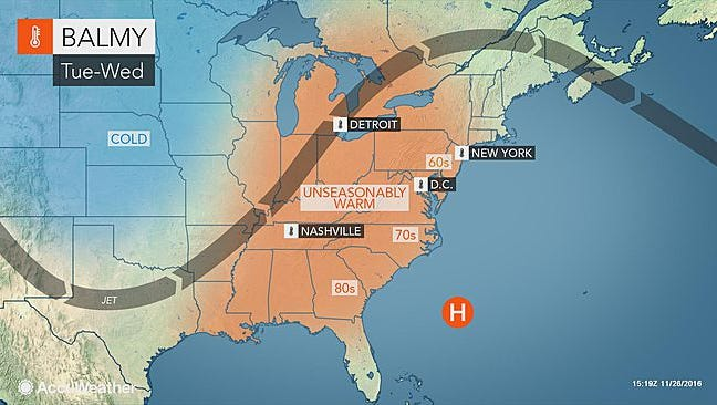 Mild temperatures are expected in much of the Northeast.