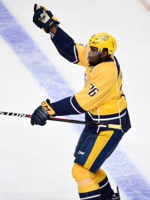Nashville Predators defenseman P.K. Subban (76) celebrates his first goal as a Predator in the home opener against the Blackhawks at Bridgestone Arena Friday, Oct. 14, 2016, in Nashville, Tenn.
