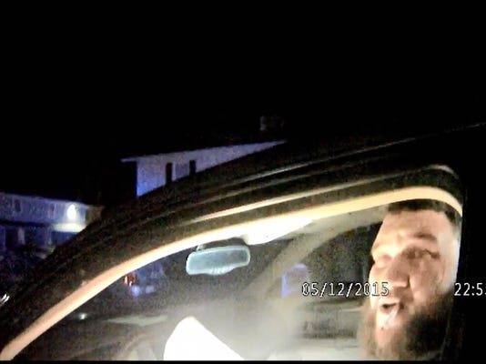 A still shot from a Gettysburg Borough Police Department body camera shows Derek Twyman on the night of his arrest May 12.