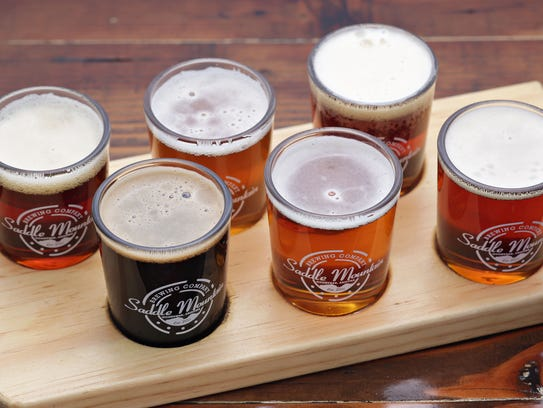 A flight of Taildragger craft beer, brewed on premise