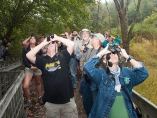 Bird watchers at Beaver Lake Bird Sanctuary